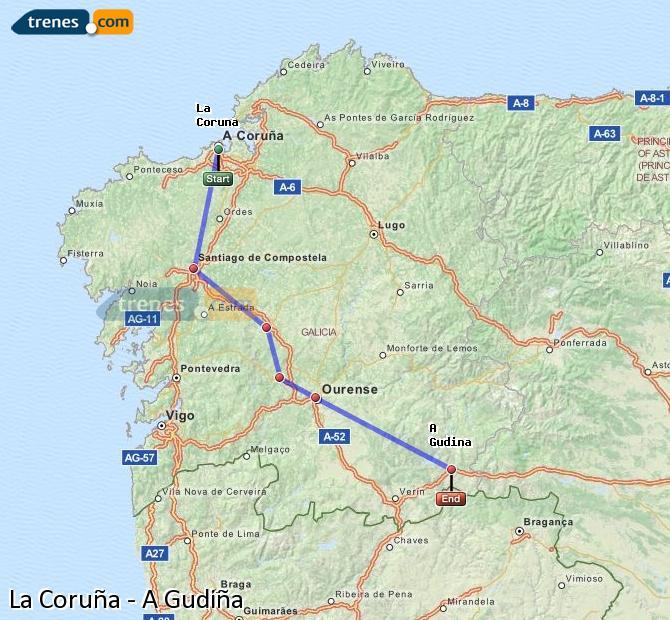 Agrandir la carte Trains La Coruña A Gudiña