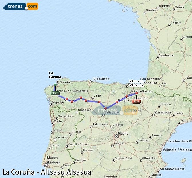 Ingrandisci la mappa Treni La Coruña Altsasu Alsasua