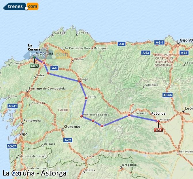 Ampliar mapa Comboios La Coruña Astorga