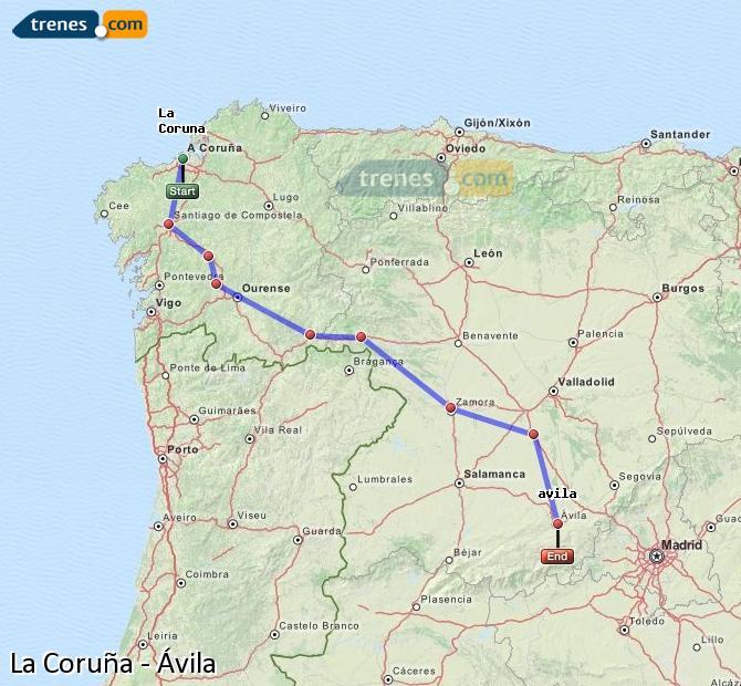 Karte vergrößern Züge La Coruña Ávila