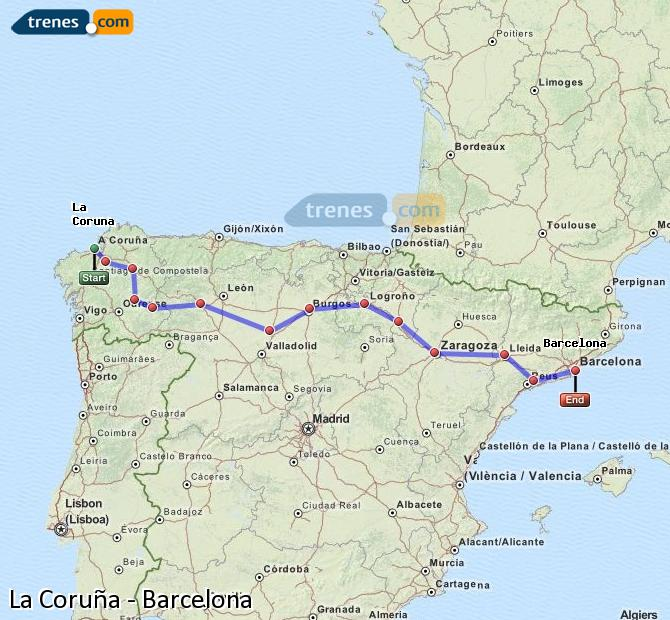 Enlarge map Trains La Coruña to Barcelona
