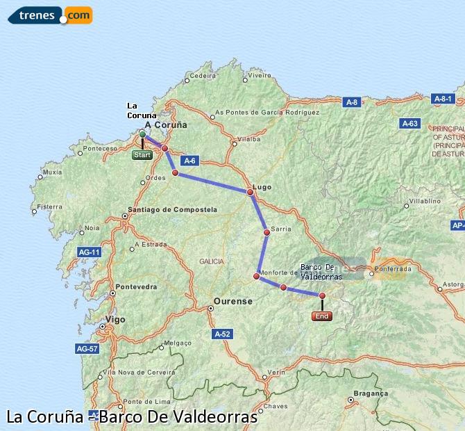 Ingrandisci la mappa Treni La Coruña Barco De Valdeorras