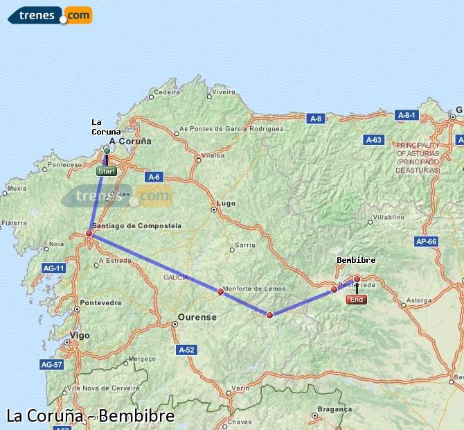 Karte vergrößern Züge La Coruña Bembibre