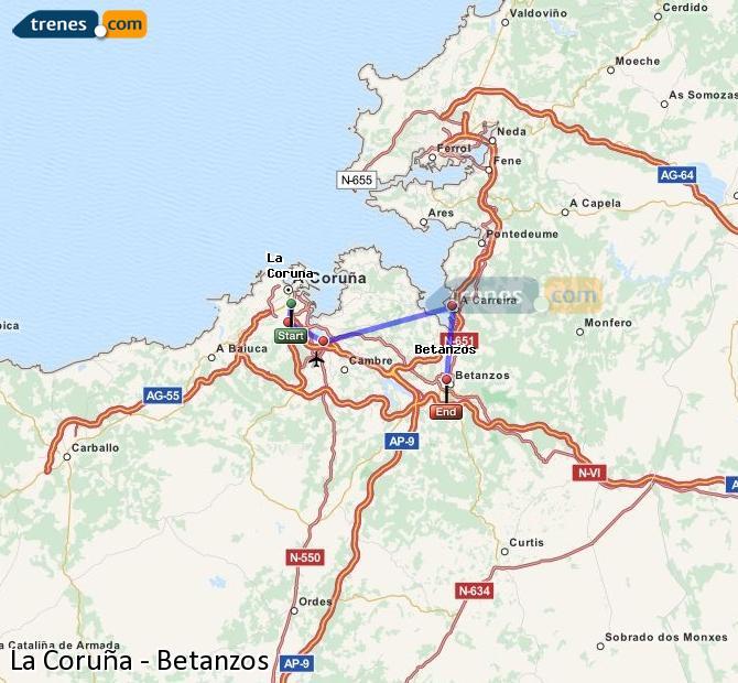Ingrandisci la mappa Treni La Coruña Betanzos
