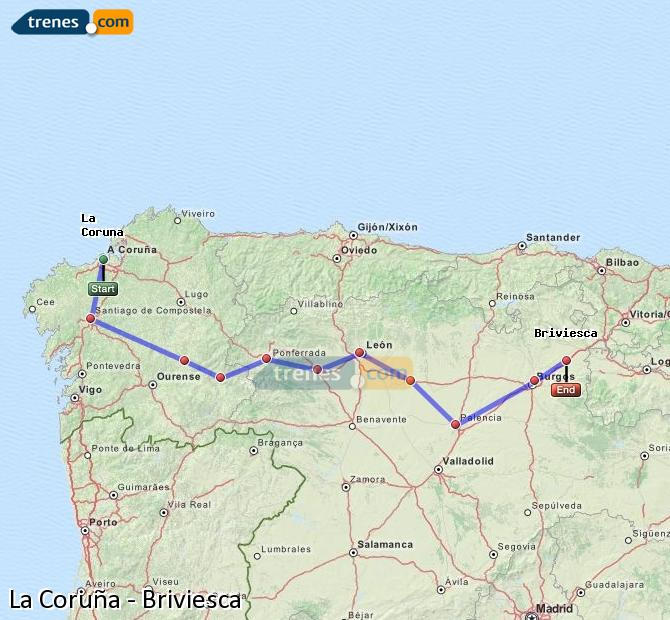 Enlarge map Trains La Coruña to Briviesca
