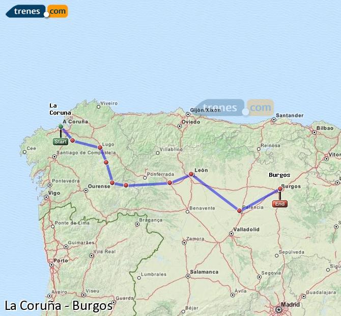 Ingrandisci la mappa Treni La Coruña Burgos
