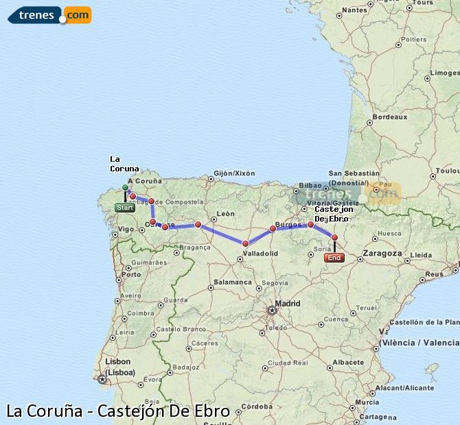 Ampliar mapa Comboios La Coruña Castejón De Ebro