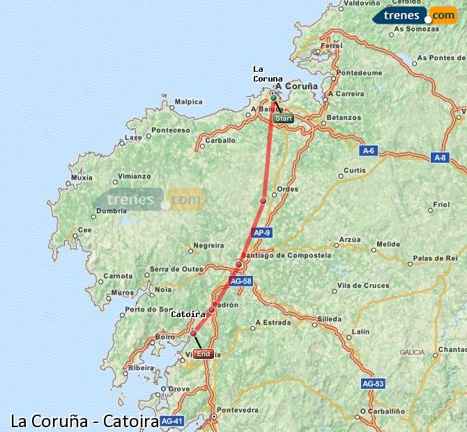 Enlarge map Trains La Coruña to Catoira