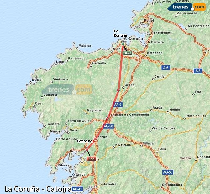 Ampliar mapa Comboios La Coruña Catoira