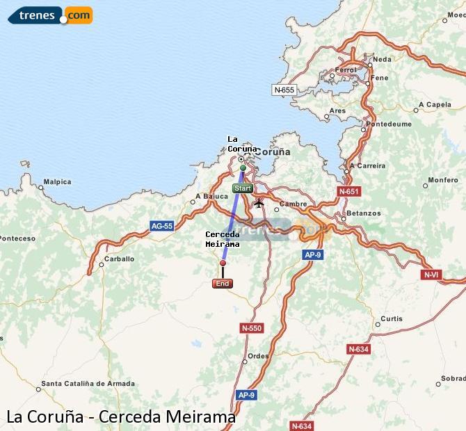 Ampliar mapa Comboios La Coruña Cerceda Meirama