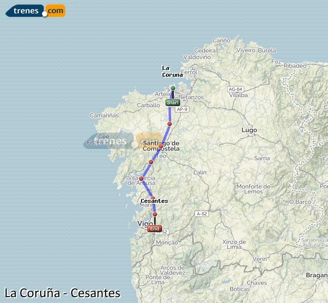 Agrandir la carte Trains La Coruña Cesantes