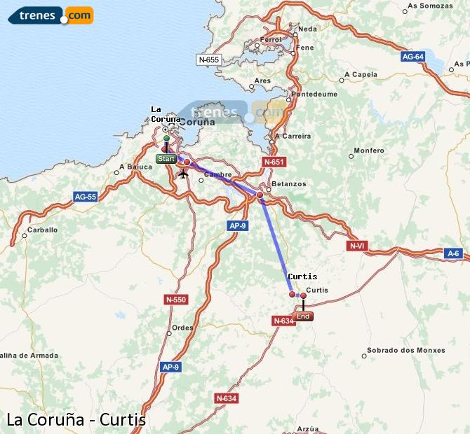 Ampliar mapa Comboios La Coruña Curtis