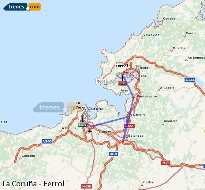 Ingrandisci la mappa Treni La Coruña Ferrol