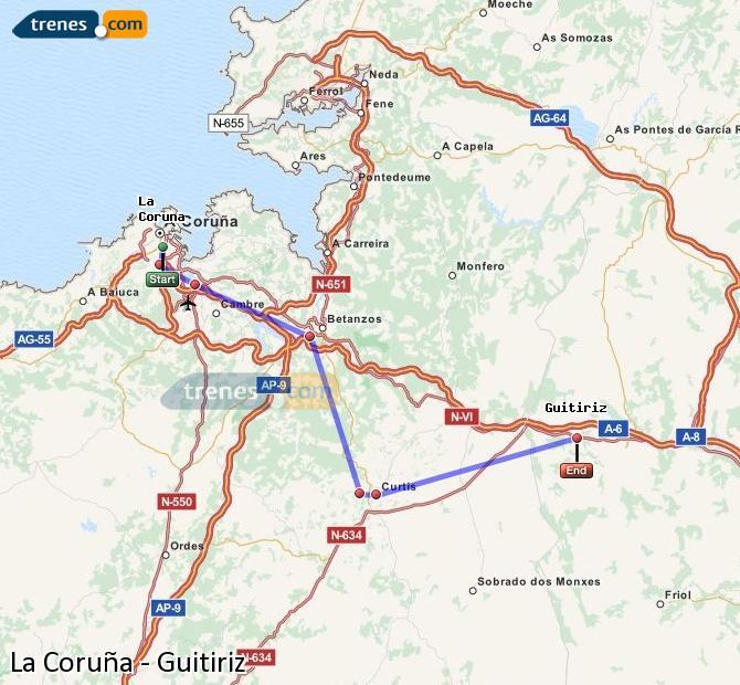 Ampliar mapa Comboios La Coruña Guitiriz