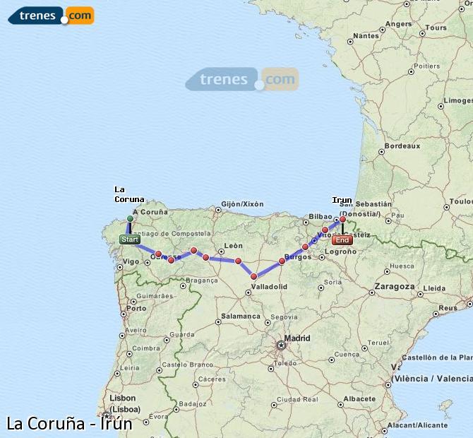 Ingrandisci la mappa Treni La Coruña Irún
