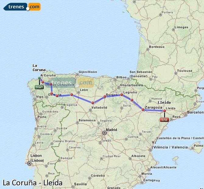 Enlarge map Trains La Coruña to Lleida
