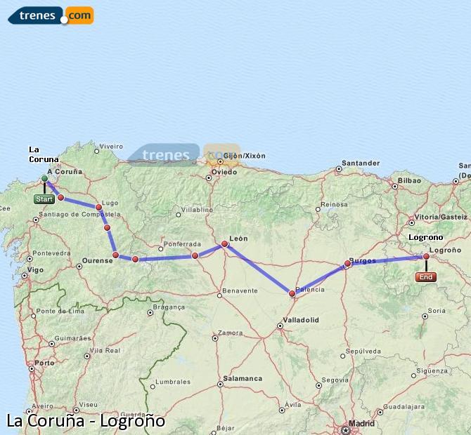 Ampliar mapa Comboios La Coruña Logroño