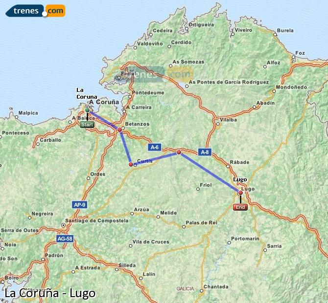 Ampliar mapa Comboios La Coruña Lugo