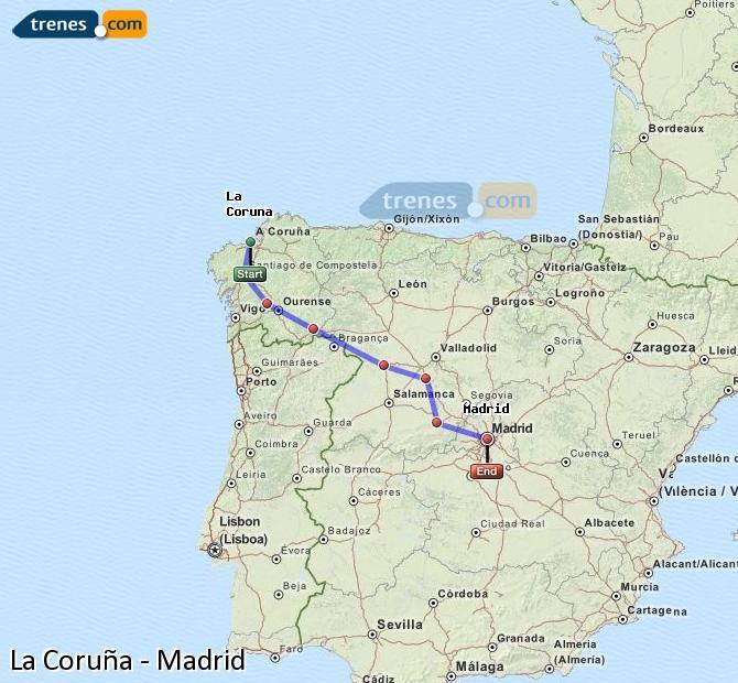 Ampliar mapa Trenes La Coruña Madrid