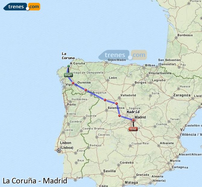 Enlarge map Trains La Coruña to Madrid