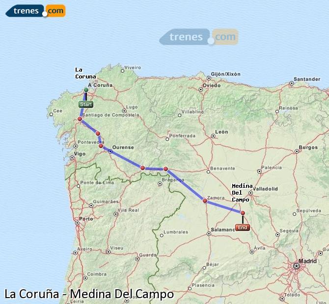 Ingrandisci la mappa Treni La Coruña Medina Del Campo