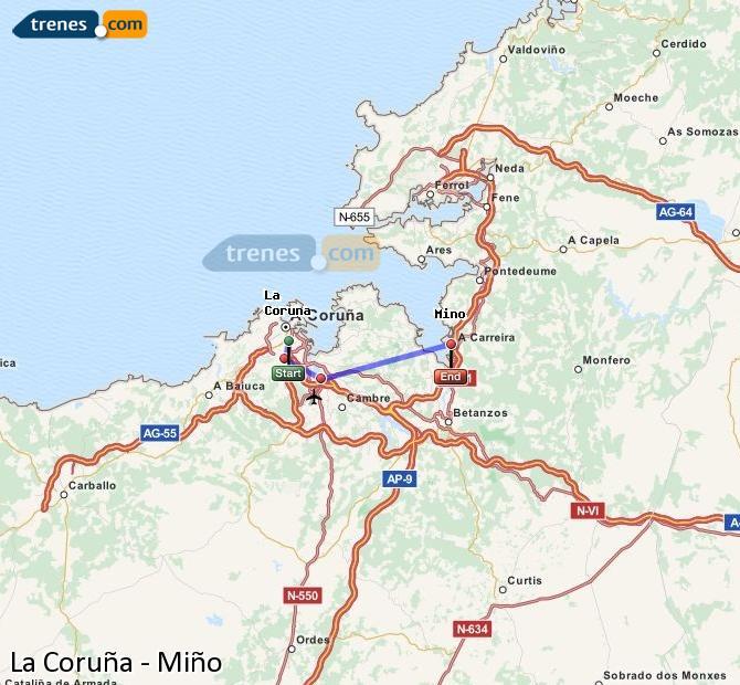 Ingrandisci la mappa Treni La Coruña Miño