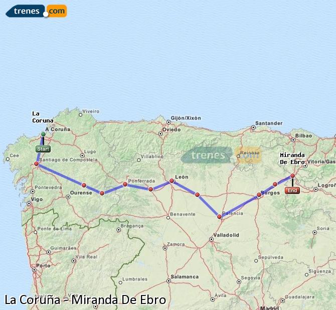 Agrandir la carte Trains La Coruña Miranda De Ebro