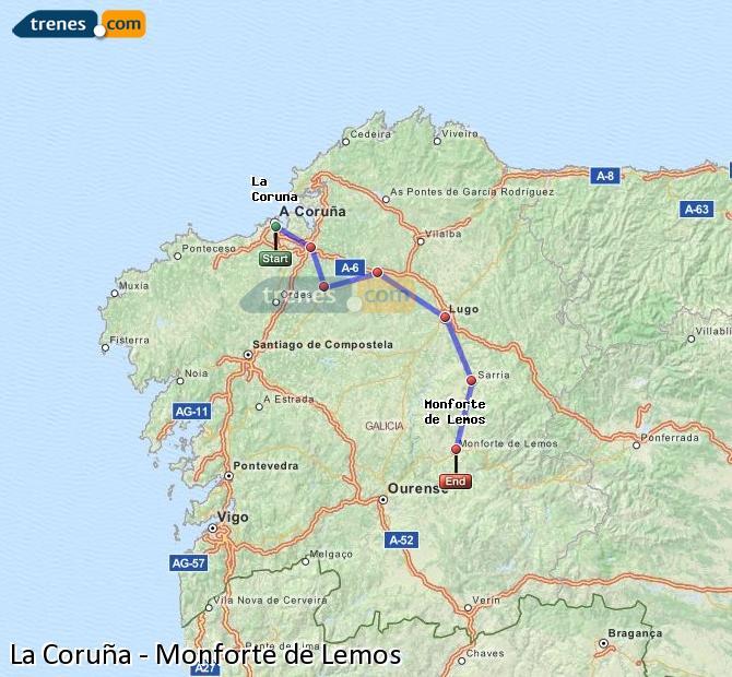 Enlarge map Trains La Coruña to Monforte de Lemos