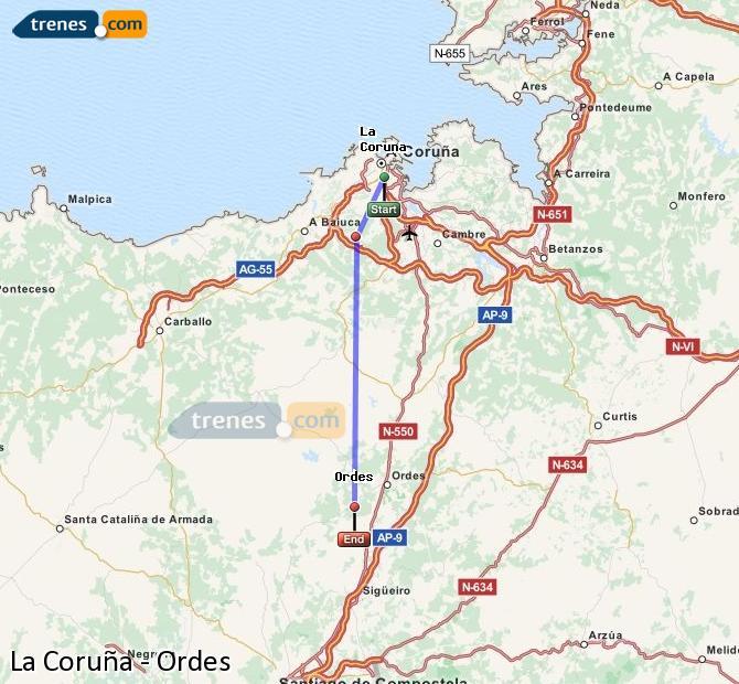Ingrandisci la mappa Treni La Coruña Ordes