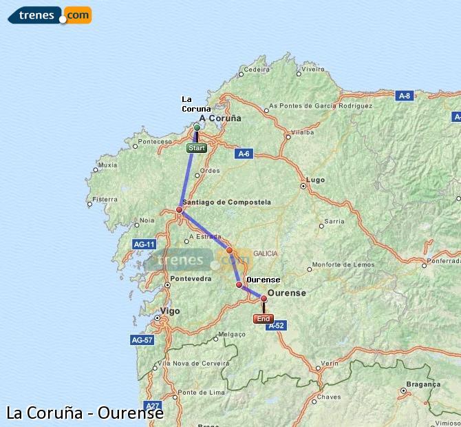Ampliar mapa Trenes La Coruña Ourense