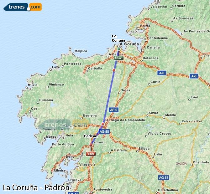 Enlarge map Trains La Coruña to Padrón