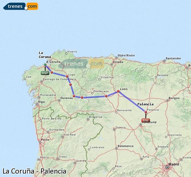 Ingrandisci la mappa Treni La Coruña Palencia