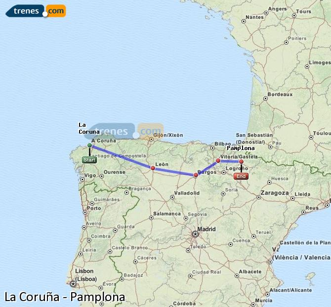 Ingrandisci la mappa Treni La Coruña Pamplona