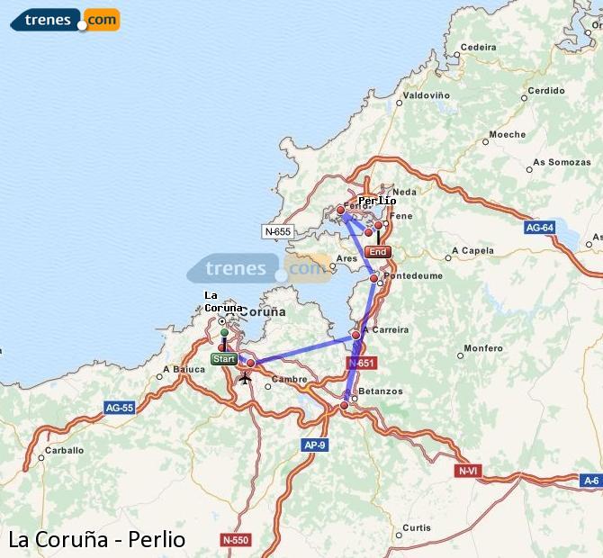 Ampliar mapa Comboios La Coruña Perlio