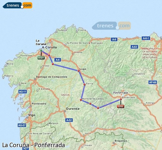 Ingrandisci la mappa Treni La Coruña Ponferrada