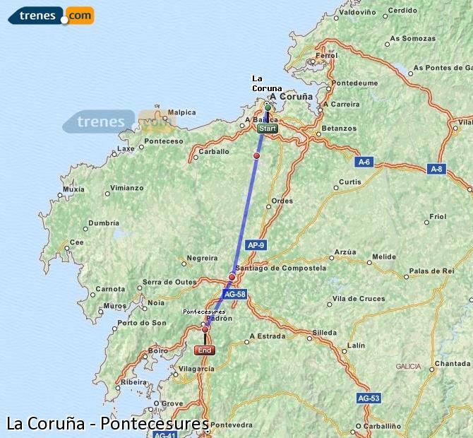 Ingrandisci la mappa Treni La Coruña Pontecesures