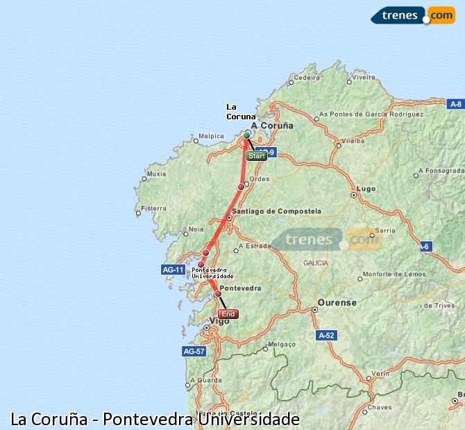 Ampliar mapa Comboios La Coruña Pontevedra Universidade