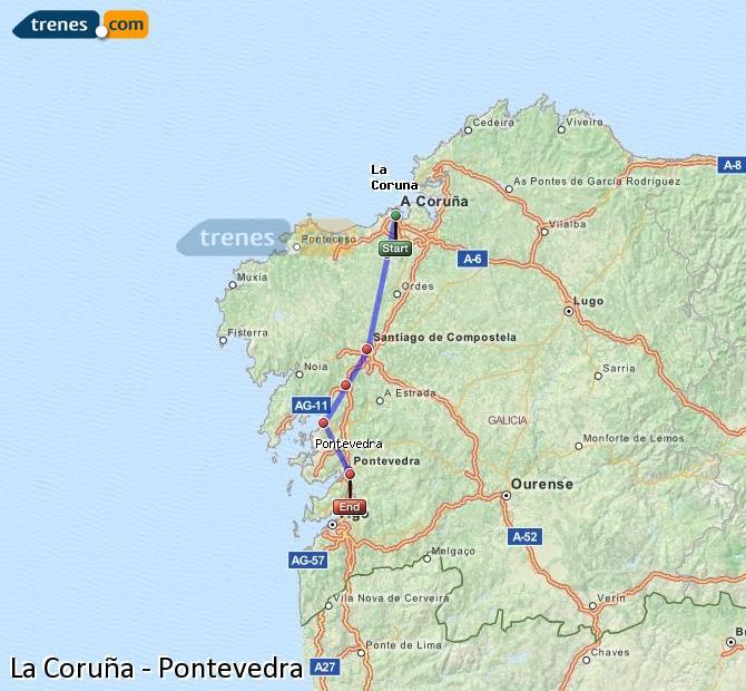 Ampliar mapa Trenes La Coruña Pontevedra