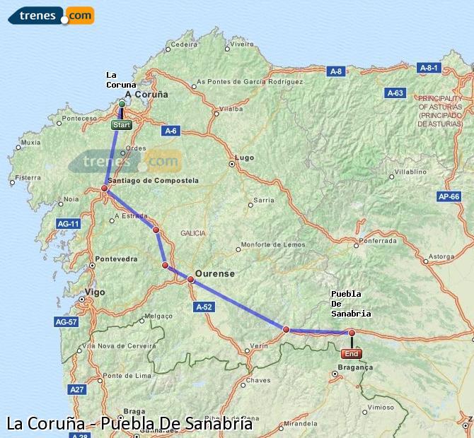 Ampliar mapa Comboios La Coruña Puebla De Sanabria
