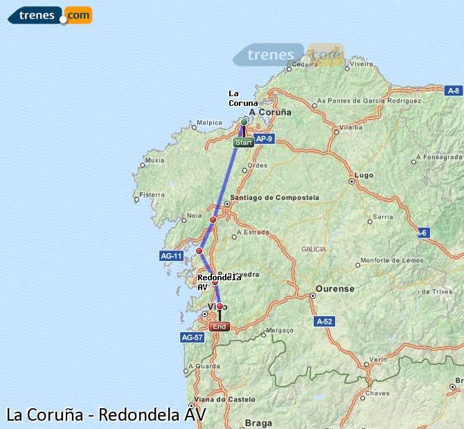 Ingrandisci la mappa Treni La Coruña Redondela AV