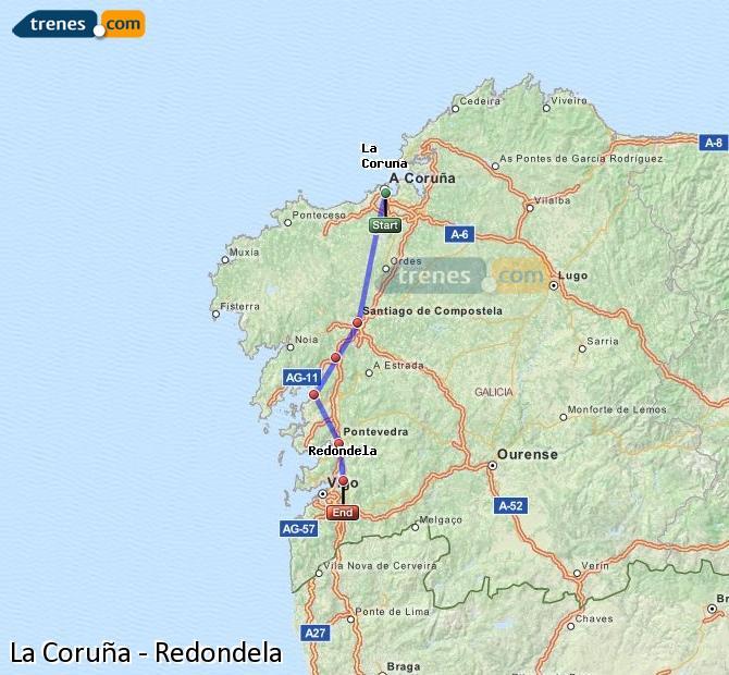 Karte vergrößern Züge La Coruña Redondela