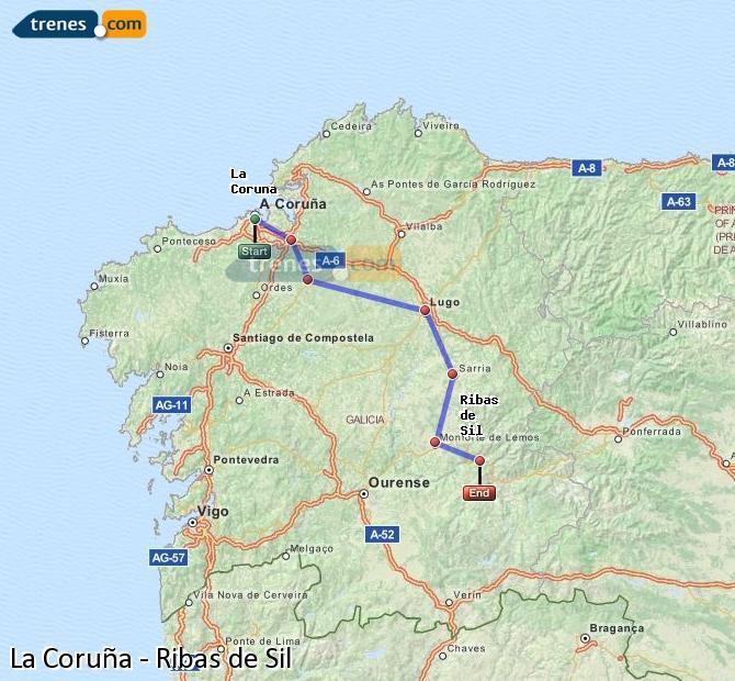 Enlarge map Trains La Coruña to Ribas de Sil