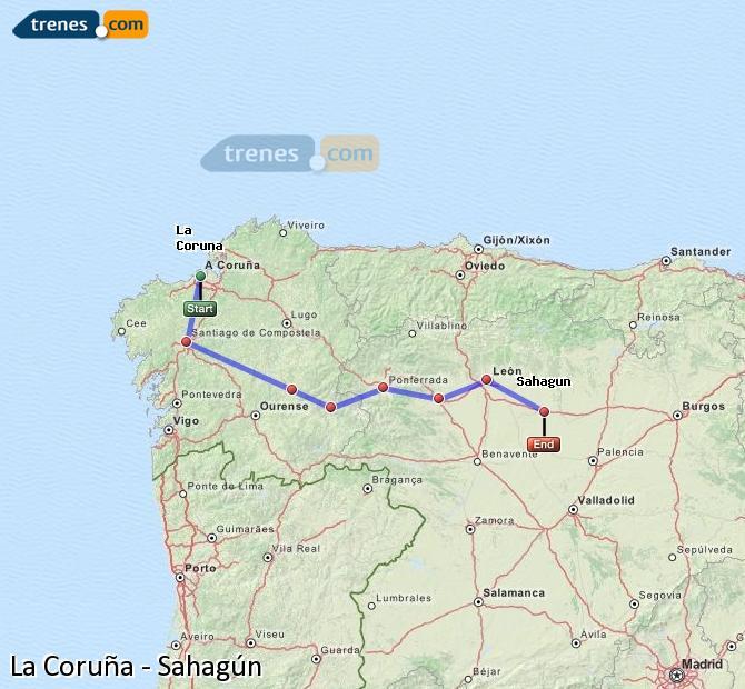 Ingrandisci la mappa Treni La Coruña Sahagún