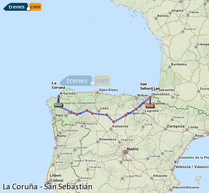 Ampliar mapa Comboios La Coruña San Sebastián