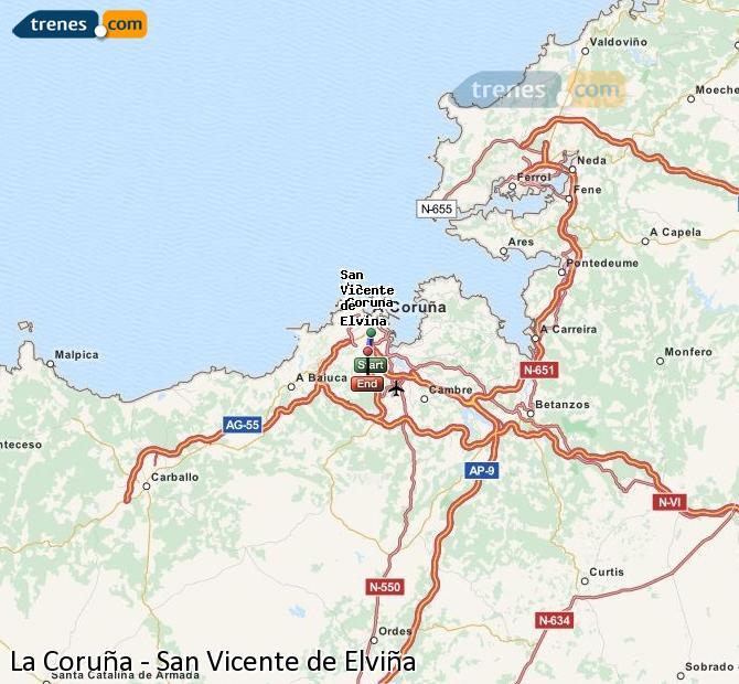 Ampliar mapa Comboios La Coruña San Vicente de Elviña