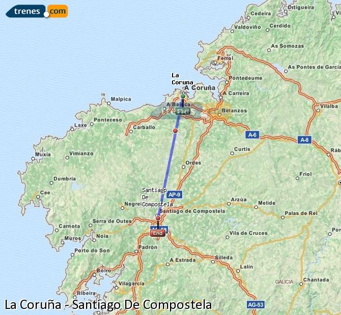 Karte vergrößern Züge La Coruña Santiago De Compostela
