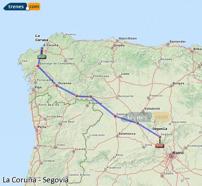 Ingrandisci la mappa Treni La Coruña Segovia