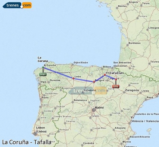 Ingrandisci la mappa Treni La Coruña Tafalla