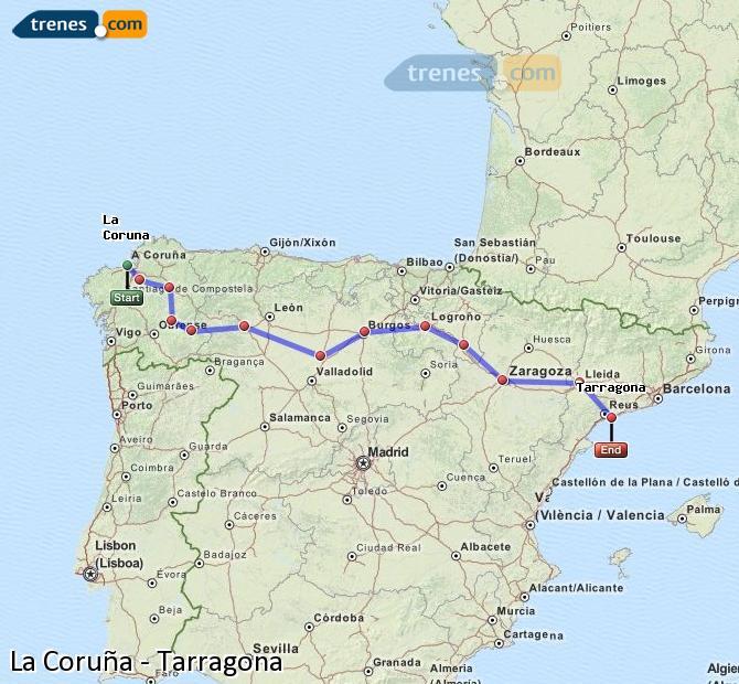 Ampliar mapa Comboios La Coruña Tarragona