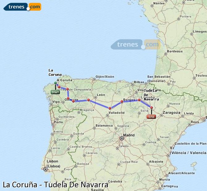 Ampliar mapa Comboios La Coruña Tudela De Navarra